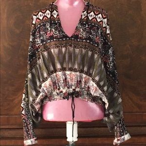 Free People Oversized Hooded Floral Print Top
